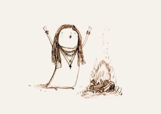 Campfire Lady Art Print