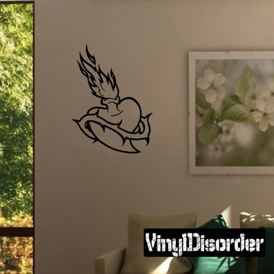Heart with vines Flames Wall Decal - Vinyl Decal - Car Decal - DC8322