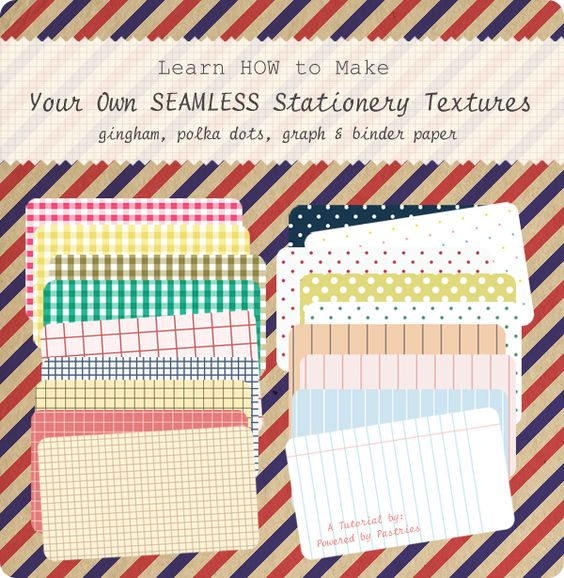 Learn how to make your own seamless stationery textures (gingham, polka dots, graph, & binder paper)