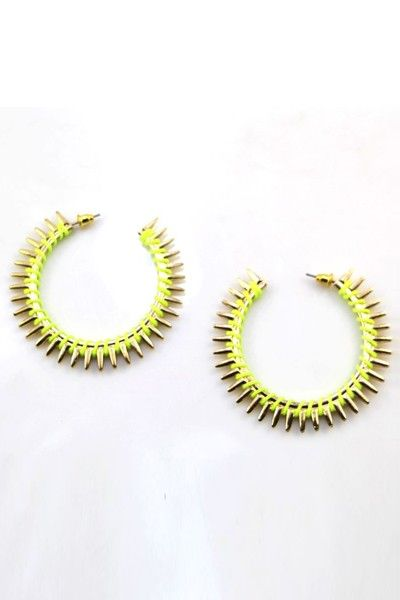 Punk style hoop earrings feature highly polished metal, bright color string wrap on it, exaggerated spikes, and finished with post lock closure.
