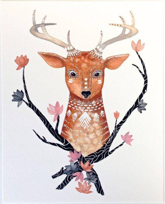 Woodland Illustration Malerei - Aquarell Kunst - Archivierung drucken Ronan 8 x 10 on Etsy, 15,25€