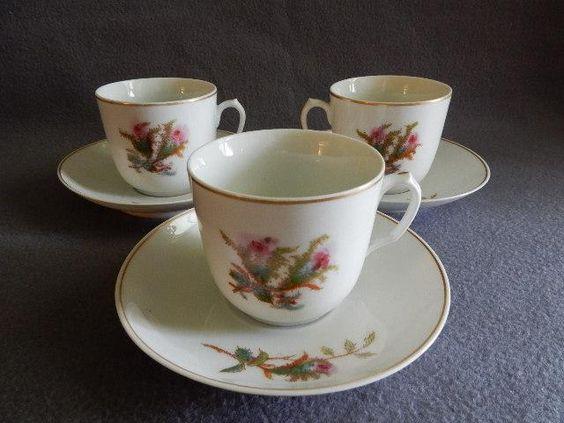 "Set of 3 - 1880's Charles Haviland & Co. Limoges ""Moss Rose"" Pattern Cups & Saucers"