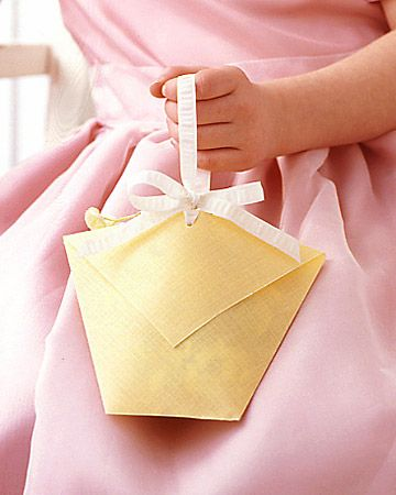 DIY flower basket - blog post on Hill City Bride: Girl S Paper, Flower Girl Basket, Summer Wedding, Flower Girl S, Paper Basket, Flower Girls, Martha Stewart Weddings