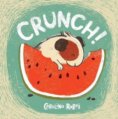 """Crunch! (E RAB): """"Crunch the guinea pig loves his food, so it's just as well there's plenty of it, especially when a hungry little mouse wants a share. So why does Crunch refuse? Later, Crunch can't settle to his feast for worrying about the mouse. Although he's never stepped outside his hutch before, Crunch sets off to look for him. Will he find the little mouse, and if so, what else might he discover?"""""""