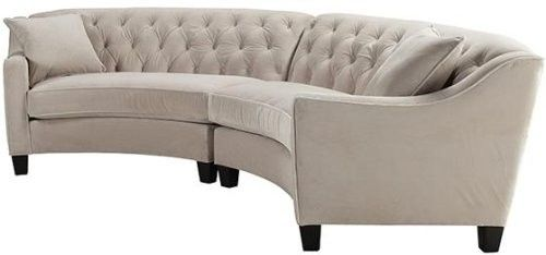 """Riemann Curved Tufted Sectional, 2 PIECE, MCRSUEDE PEARL - 34"""""""