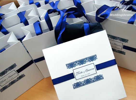 Wedding Welcome Bag with satin ribbon and custom by WeddingUkraine