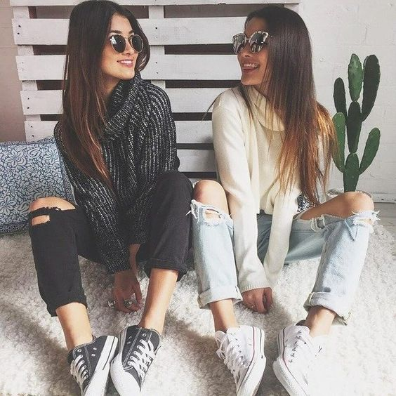#jeans #sweater #longhair #sunglasses #converse