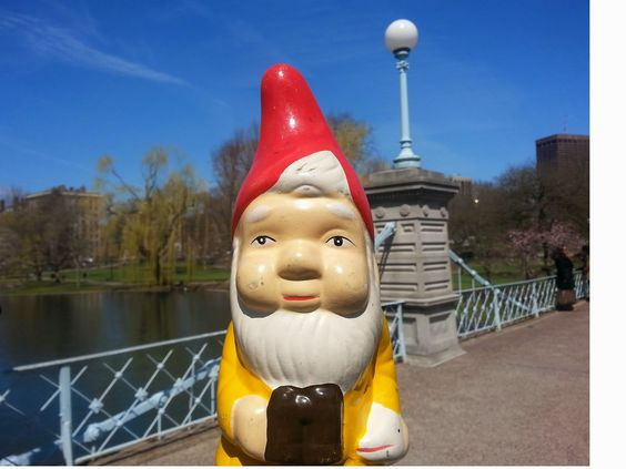 the boston garden gnome: on the bridge in the Boston Public Garden