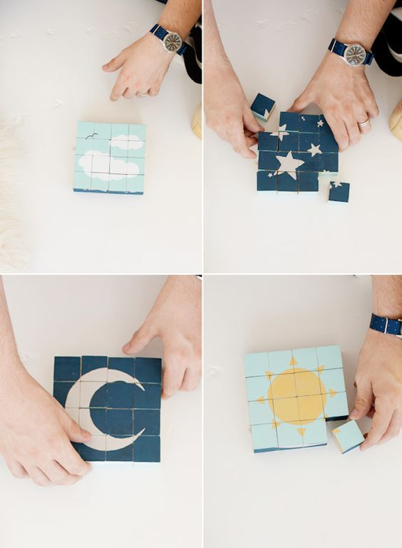 Do-It-Yourself Wooden Cube Blocks - Sun-Moon-Stars-Clouds. Love this!: Baby Gifts, Baby Blocks, Diy Blocks, Blocks Gift, Homemade Gift