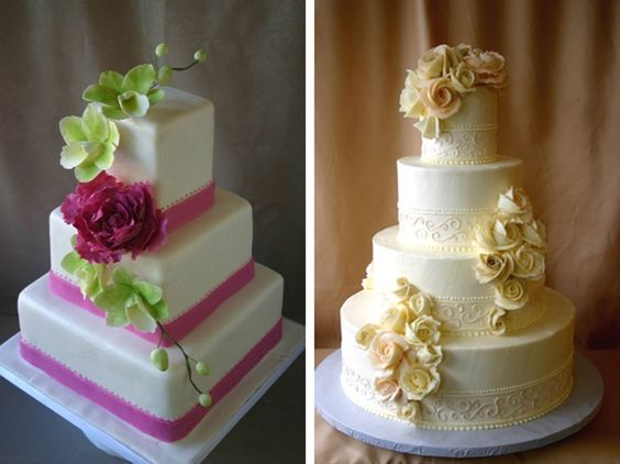 Like the square cake on the left. I envision it with black ribbon instead of pink and then just a green vine thing