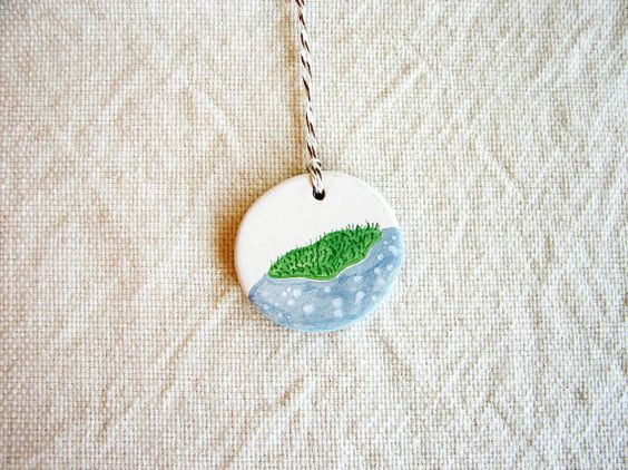 Everyday Ornament - tiny painting on clay - mossy rock - no. 47