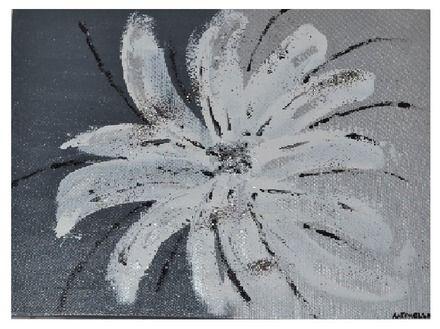 Tableau moderne abstrait innocence fleur gris blanc for Tableau gris blanc noir