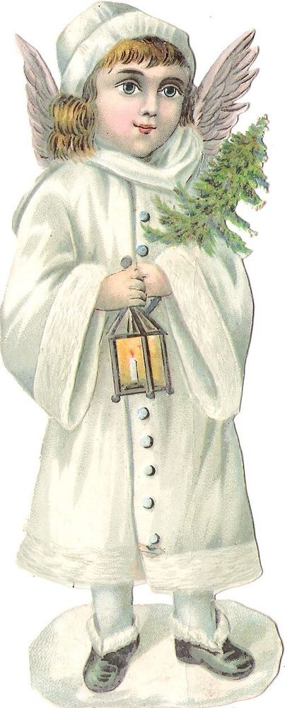 Oblaten Glanzbild scrap die cut chromo Engel 16cm angel XMAS Winter Laterne MICA: