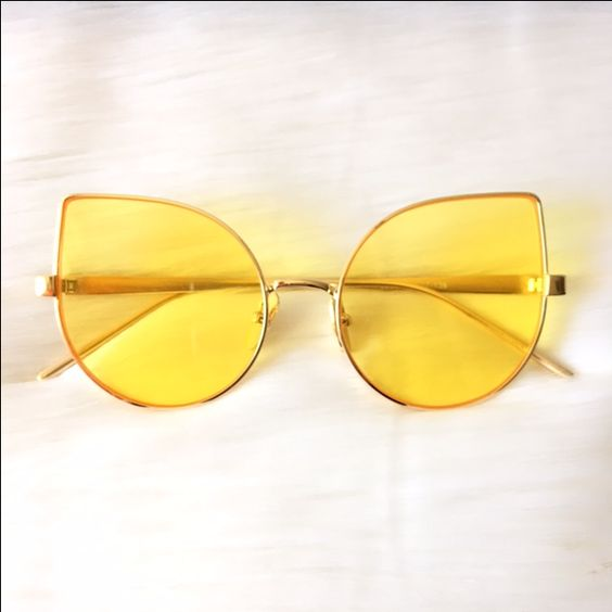 Gold Framed with Yellow Tinted Lens Cateye Designer Inspired Sunglasses: