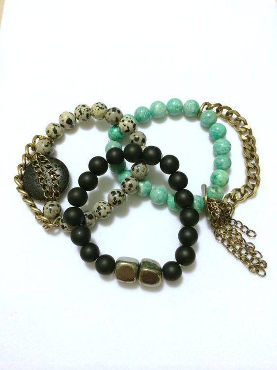 Beaded Bracelets  Set of 3 Unique Handmade by ArmCandyCoutureShop