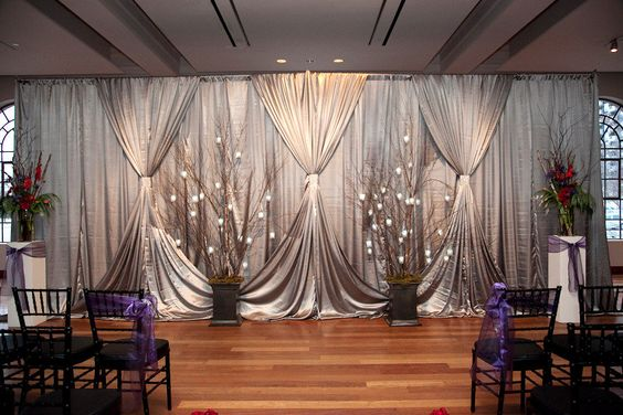 curtain, pipe and drape wedding ceremony back drop