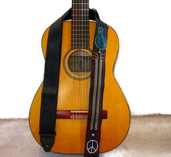 Custom Guitar Strap Woodstock Summer of 69 Monogram on by Meoneil