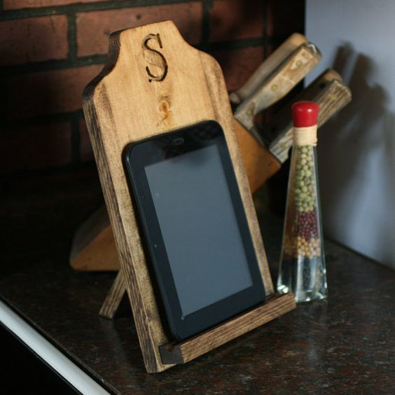 IPad stand personalized Kindle tablet kitchen stand recipe holder monogram desktop gift natural wood on Etsy, $34.00