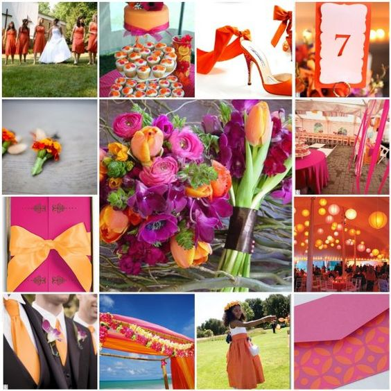 Plum, Fuchsia, and Orange Wedding decor