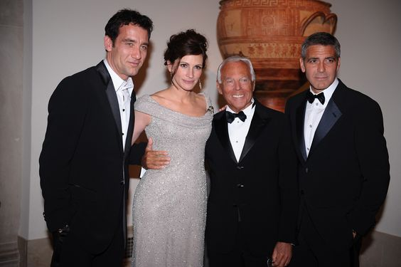 #Atribute to Friends: Giorgio Armani with Clive Owen, Julia Roberts and George Clooney at the New York Met in 2008. For more, visit Armani.com/Atribute
