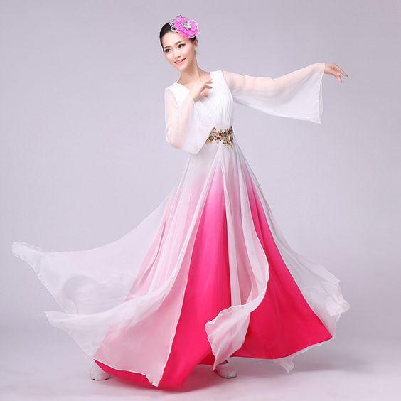 Tradicional mujeres degradado colores juego de la espiga chino antiguo traje hermosa princesa traje de la danza dinastía ópera china vestido