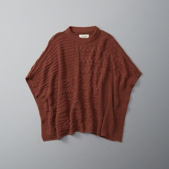 Abercrombie & Fitch Cable Poncho ($78) ❤ liked on Polyvore featuring outerwear, orange, sweater pullover, cable pullover, knit poncho, poncho pullover and brown poncho