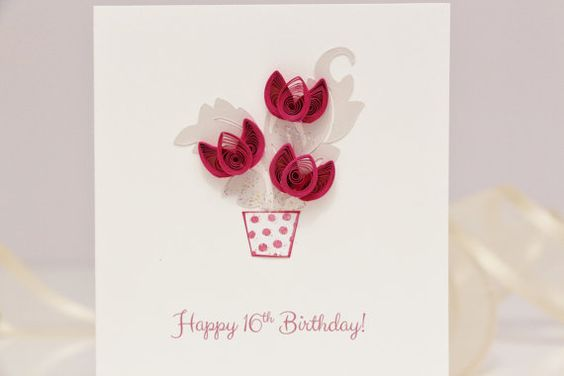 Happy 16th Birthday Sweet 16 Quilled Tulips Card
