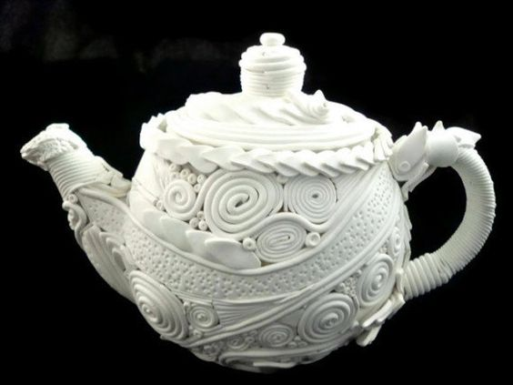 Teapot decorative art piece home decor white polymer by HiGirls, $75.00