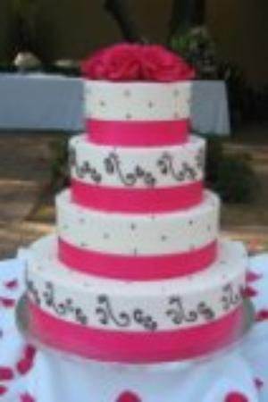 Swiss Dot And Scrolls Wedding Cake