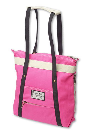 """KAVU%57Swap Meet-Wild Pink-Tote style backpack with fixed shoulder straps that convert to handle straps, main compartment with zip closure and side zip access, front stash pocket and zip pocket, and interior organizational pockets. Dimensions: 17"""" x 16"""". Fabric: 12oz cotton canvas."""