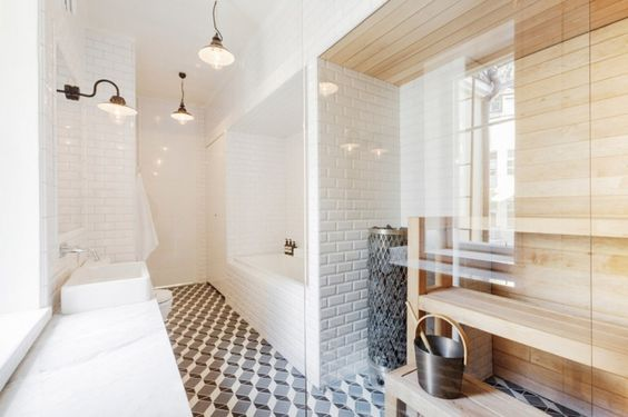 This is what my washroom needs...a built-in sauna. Found this on the blog Time of the Aquarius-from the home of Linda Bergroth.