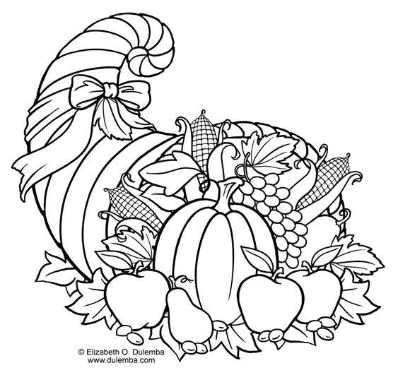 Thanksgiving cornucopia coloring pages coloring pages for Cornucopia coloring page
