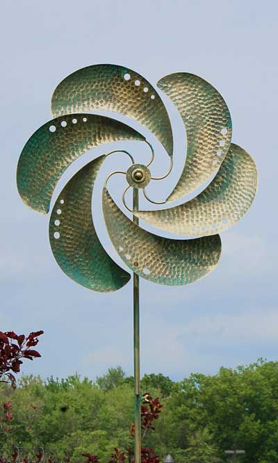 "Gardman Brunswick Kinetic Wind Spinner, Verdigris, 63""H at ..."