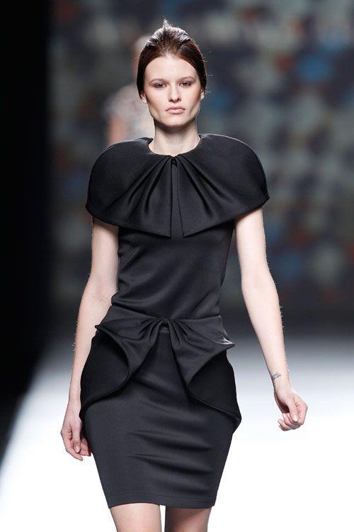 Amaya Arzuaga Fall 2014 collection during Mercedes-Benz Fashion Week in Madrid.  Photos via Image.net