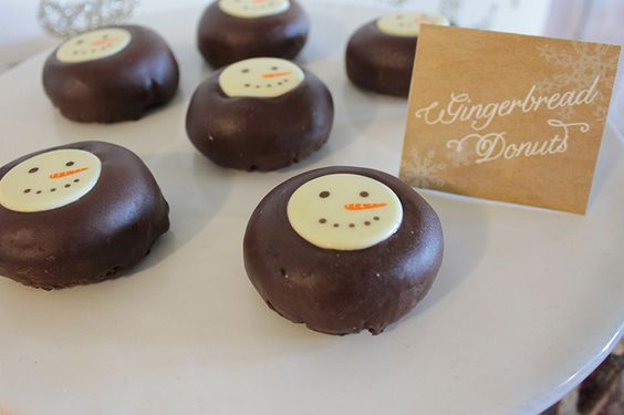 Chocolate Gingerbread Snowman Donuts - B. Lovely Events