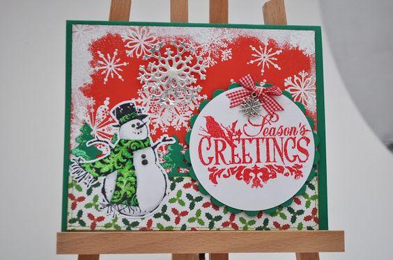 Snowman Christmas card / Tarjeta de Navidad muñeco de nieve / Inkadinkado stamps