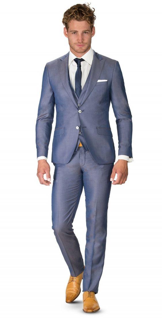 p1615-b grijs blauw trouwpak