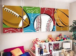 Would be great in Jack's room: Sports Room Kids, Sports Mural, Sports Wall, Boy Rooms, Boys Sports Rooms, Boys Room Sports, Room Ideas, Kids Wall Murals, Kids Rooms