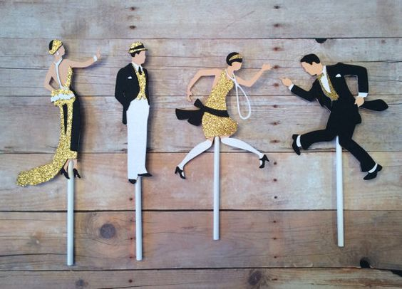 Great Gatsby Inspired, Roaring 20's, Art Deco cupcake toppers. Color of your choice. Set of 12. 1920's party, Hollywood Glamour.
