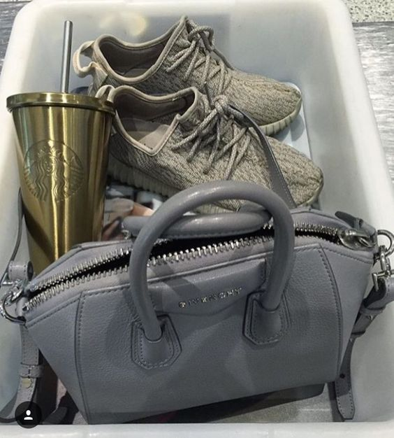 Grey Givenchy X yeezys X gold Starbucks cup