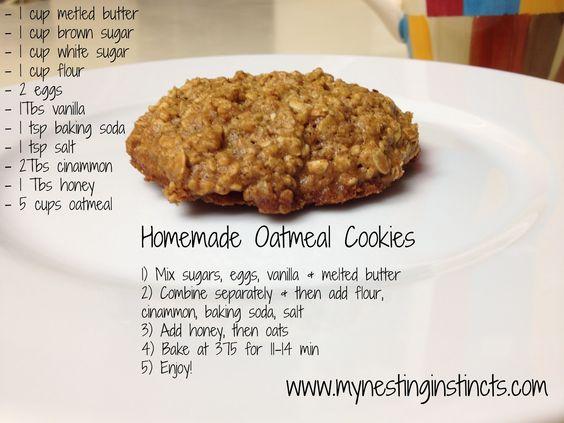 Homemade Oatmeal Cookies! The secret ingredient is honey! Yummmm!