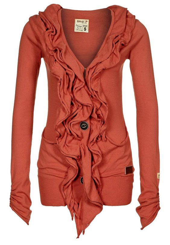 Gorgeous coral frilly cardigan with extra long sleeves! This company makes the CUTEST fall/winter wear!