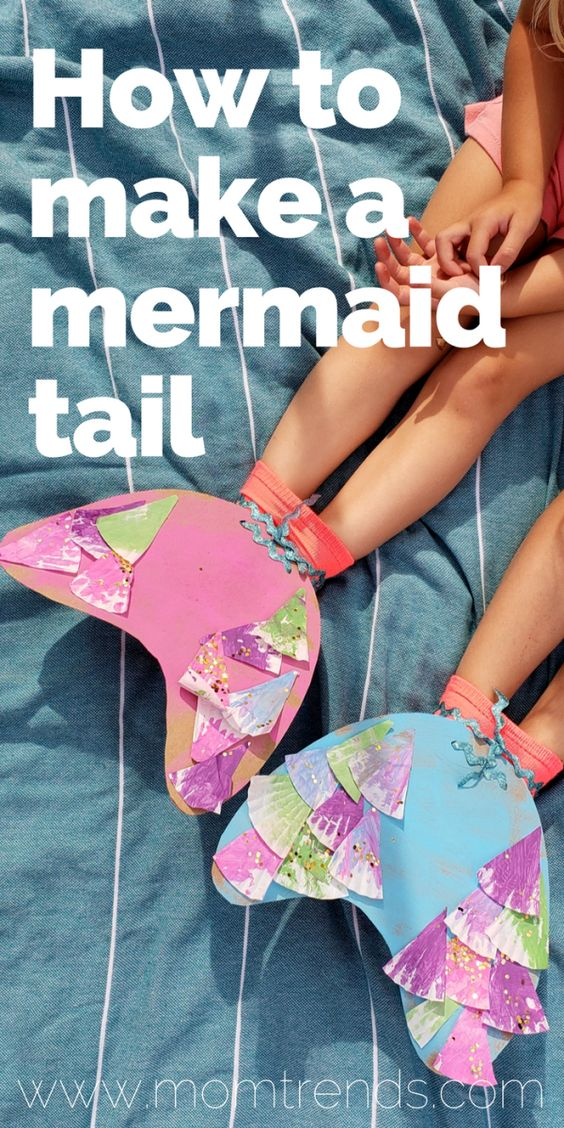 How to make a mermaid tail using items from around the house. Easy and cheap mermaid craft for kids. #mermaid #mermaidcraft #kidscraft #kidsactivity #forkids #craft #diy #mermaidtail