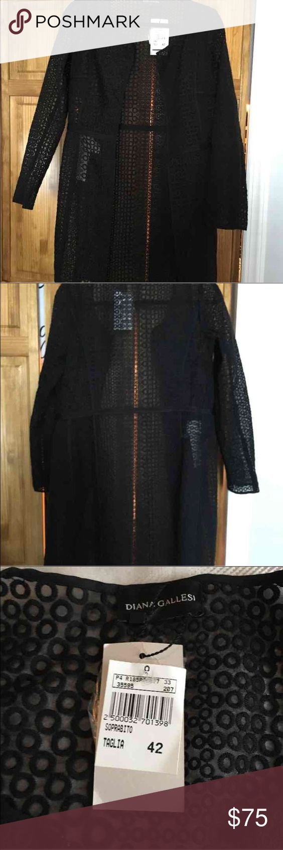 Black long overcoat Beautiful black long sleeve  overcoat by the  Italian designer Diana Gallesi.  You can wear this overcoat open or you can close it with the hooks. The Italian size is a 42.  On the tag inside the jacket it states the US size is a 6. Jackets & Coats Blazers