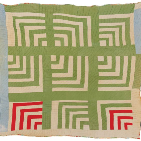 "Gees Bend Quilt...Martha Jane Pettway, born 1898. ""Housetop""--nine-block ""Half-Logcabin"" variation, ca. 1945, corduroy, 72 x 72 inches"
