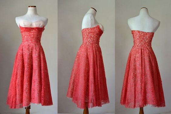 Vintage 1950s red lace prom dress with multilayered and ruffled crinoline. This dress would be great for a dramatic costume for a themed event,