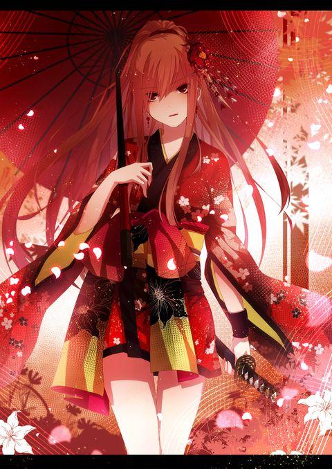 >総合3位ありがとうございました! 『#anime #animegirl #manga #kawaii #cute #kimono #red…
