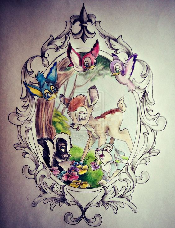 Frame, birds, flowers for my bambi, thumper tattoo part of me loves this for Oakleys tattoo ?