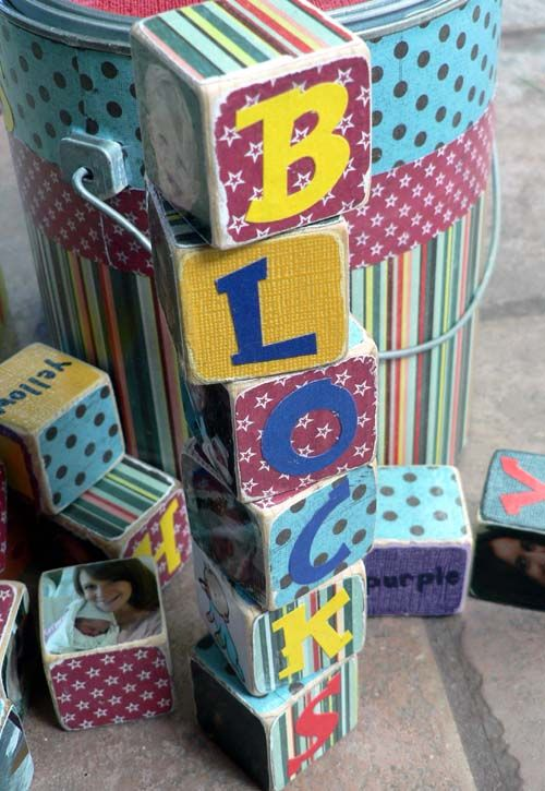 Personalized set of blocks...includes numbers, letters, shapes, colors, a picture puzzle, and family pictures.