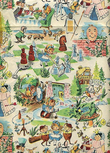 Alice in Wonderland wrapping paper. This paper looks so familiar. Wondering if it was a fabric way back when? So sweet.